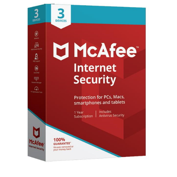 Software McAfee Internet Security 2020 3 Users 1 Ano
